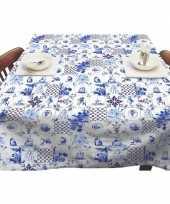 Buiten tafelkleed tafelzeil delfts blauwe tegels 140 x 250 cm trend