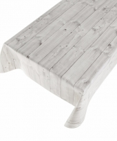 Buiten tafelkleed zeil hout grijs 140 x 240 cm trend