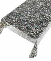 Buiten tafelkleed zeil stenen motief 140 x 170 cm trend