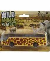 Bus safari speelgoedauto geel giraffe print 14 cm trend