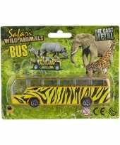 Bus safari speelgoedauto giraf print 14 cm trend
