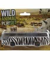 Bus safari speelgoedauto zebra print 14 cm trend