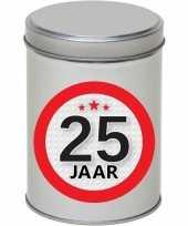 Cadeau kado zilver rond blik 25 jaar 13 cm trend