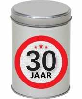 Cadeau kado zilver rond blik 30 jaar 13 cm trend