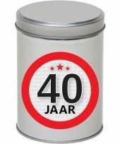 Cadeau kado zilver rond blik 40 jaar 13 cm trend