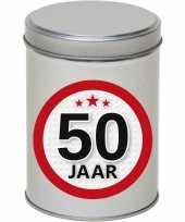 Cadeau kado zilver rond blik 50 jaar 13 cm trend