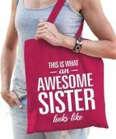 Cadeau zus tas van katoen awesome sister roze trend