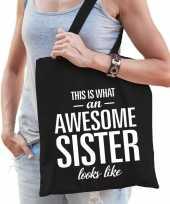 Cadeau zus tas van katoen awesome sister zwart trend