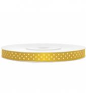 Cadeaulint geel met witte stippen 6 mm breed trend