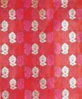 Cadeaupapier rood met bloemen 70 x 200 cm trend