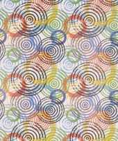 Cadeaupapier wit met gekleurde cirkels 70 x 200 cm trend