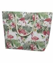 Canvas strandtas shopper met flamingo print 38 cm trend