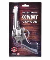 Carnaval accessoires western plaffertjes pistool 22 cm 8 schots trend