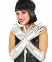 Carnaval metallic zilveren gala handschoenen trend