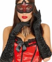 Carnaval satijnen zwarte gala handschoenen trend