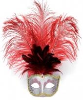 Carnavals oog masker rode veren trend