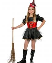 Carnavalskleding heksenkjurk rood zwart trend