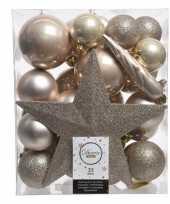 Champagne kerstballen pakket met piek 33 stuks trend