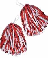 Cheerballs pom poms in het rood wit trend