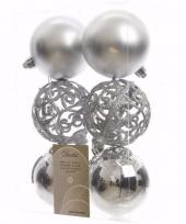Chique christmas kerstboom decoratie kerstballen zilver 6 x trend