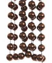 Chique christmas kerstversiering sterren grove kralen ketting bruin 270 cm trend