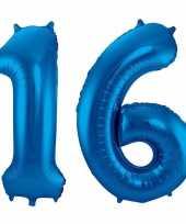 Cijfer 16 ballon blauw 86 cm trend