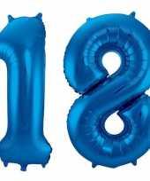 Cijfer 18 ballon blauw 86 cm trend