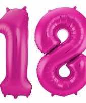 Cijfer 18 ballon roze 86 cm trend