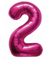 Cijfer 2 ballon roze 86 cm trend