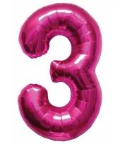 Cijfer 3 ballon roze 86 cm trend