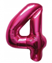 Cijfer 4 ballon roze 86 cm trend