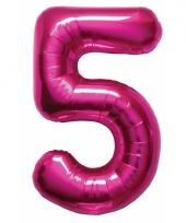 Cijfer 5 ballon roze 86 cm trend