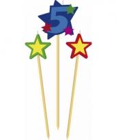 Cijfer 5 prikker kaars met sterren trend