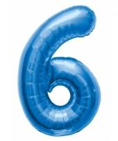 Cijfer 6 ballon blauw 86 cm trend
