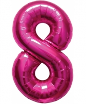 Cijfer 8 ballon roze 86 cm trend