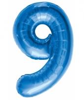 Cijfer 9 ballon blauw 86 cm trend