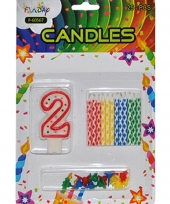 Cijfer kaarsen rood nummer 2 trend