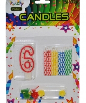 Cijfer kaarsen rood nummer 6 trend