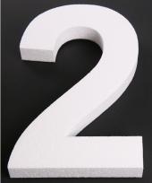 Cijfer twee van piepschuim 25 cm trend