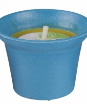 Citronella kaars 10 cm blauw trend