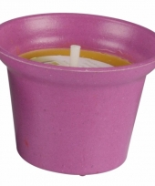 Citronella kaars 10 cm roze trend