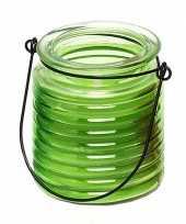 Citronellakaars in groen geribbeld glas 7 5 cm trend