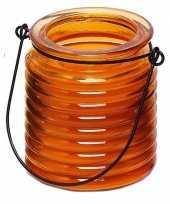 Citronellakaars in oranje geribbeld glas 7 5 cm trend