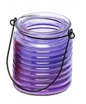 Citronellakaars in paars geribbeld glas 7 5 cm trend