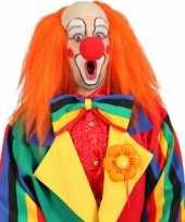 Clown pruik oranje met kaal voorhoofd trend