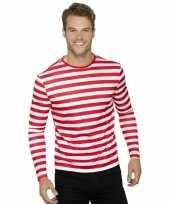 Clowns tshirt met witte en rode strepen trend