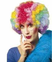 Clownspruik met regenboog kleuren trend
