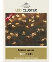 Cluster draadverlichting met timer 100 sterren op batterij wit trend