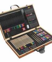 Complete tekenset in houten koffer trend