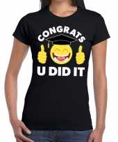 Congrats u did it t-shirt geslaagd afgestudeerd zwart dames trend